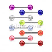 Barbells with Acrylic Glitter Balls 320pc Pack (40pcs x 8 colors)