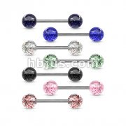316L Surgical Steel 14GA Barbell w/ Acrylic Color Ultra Glitter Ball 280pc Pack (40pcs x 7 colors)