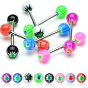 Acrylic Pot Leaf Inlay Ball Barbell
