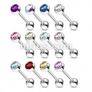 Mixed Colors Barbell with Press Fit Gem Ball 240pc Pack (20pcs x 12 colors)
