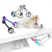 Press Fit 7mm Crystal Flat Top 316L Surgical Steel Barbell Tongue Rings