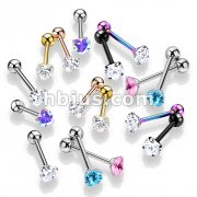 80 Pcs Prong Set Hear CZ 316L Surgical Steel Barbell Tongue Rings (10 Pcs x 8 Colors)