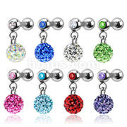 Ferido Crystal Dangle Gem Ball Cartilage/Tragus Barbell 316L Surgical Steel