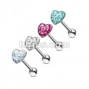 Assorted Heart Paved-Crystal on 316L Surgical Steel Barbell Dozen Pack