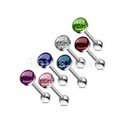 Phosphor Glitter Epoxy Dome Top Barbell 316L Surgical Steel (10pcs x 7colors)