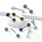 316L Surgical Steel Straight Barbell with Natural Stone Balls