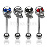 Skull Barbell Gemmed Eye 316L Surgical Steel
