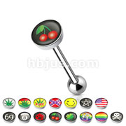 Clear Epoxy Covered Picture Inlaid Top 316L Surgical Steel Barbell Tongue rings (24Logos)