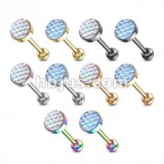 100 pcs Fish Scale Flat Set Top 316L Surgical Steel Barbell, Tongue Rings Bulk Pack (10 pcs x 10 Colors)
