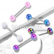 Metallic AB Coating Balls Over 316L Surgical Steel Barbells