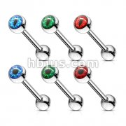 60 pcs Eyeball Inlaid 316L Surgical Steel Barbell Tongue Rings Bulk Pack (10 pcs x 6 Styles)