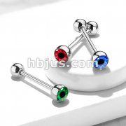 Eyeball Inlaid 316L Surgical Steel Barbell Tongue Rings