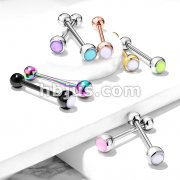 Illuminating Stone Set 316L Surgical Steel Barbell Tongue Rings