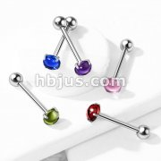 Prong Set Zircon Cabochon Stone 316L Surgical Steel Barbell Tongue Rings