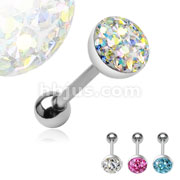 8mm Austrian Crystal Paved Ferido Gem Dome Top 316L Surgical Steel Barbell