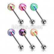 120 Pcs Metallic Coating Candy Ball 316L Surgical Steel Barbells Pack (20pcs x 6 colors)