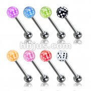 80 Pcs Dice Inside Acrylic Ball 316L Surgical Steel Barbells Pack (10pcs x 8 colors)