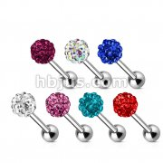42pcs Crystal Paved Ferido Ball 316L Surgical Steel Barbell Mix Bulk Pack (6 pcs x 7 Colors)