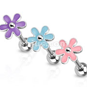 Cute Epoxy Flower Top 316L Surgical Steel Barbell