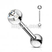Internally Threaded 316L Surgical Steel Barbell with CZ Ball