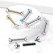 316L Surgical Steel Internally Threaded Barbells with Prong Set CZ On Both Ends