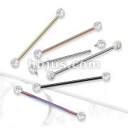 Internally Threaded 316L Surgical Steel Industrial Barbells with Epoxy Covered Crystal Paved  Balls