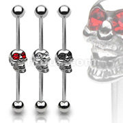 Skull w/Gemmed Eyes 316L Industrial Barbell