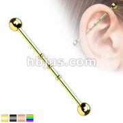 Triple Notched Industrial Barbell Titanium IP Over 316L Surgical Steel 14G 1&1/2