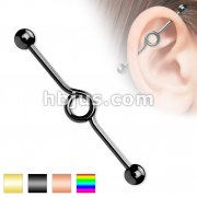 Looped Industrial Barbell Titanium IP Over 316L Surgical Steel 14G 1&1/2