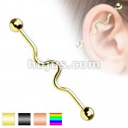 Wavy Industrial Barbell Titanium IP Over 316L Surgical Steel 14G 1&1/2