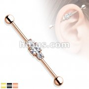 Center Three Clear CZs Ion Plated Over 316L Surgical Steel Industrial Barbell