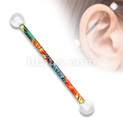 Pattern Printed over 316L Surgical Steel Industrial Barbell with Clear UV Balls