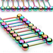 10PC Rainbow Titanium IP Over 316L Surgical Steel Barbell Package