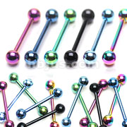 Titanium IP over 316L Surgical Stainless Steel Industrial Barbell 120pc Pack (20pc x 6 colors)