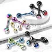 Press Fit Gem Ball Top PVD Over 316L Stainless Steel Barbells for Tongue, Tragus and mor