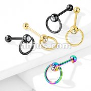 Clear Gem with Slave Ring PVD over 316L Surgical Steel Barbell Tongue Rings
