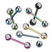 70pcs Assorted Mix Double CZ Titanium IP Over 316L Stainless Steel Nipple Bar Pack