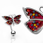 Top Down Red Colored Butterfly Bananabell Navel Ring