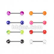 160 Pcs 316L Surgical Steel Barbell with UV Marble Balls Bulk Pack (20 Pcs x 8 Colors)