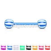 Candy Striped Acrylic Balls Flexible PTFE Barbells