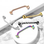 Flat Disc Ends 45 Degree Bent Staple Barbells for Surface and Snake Eye Tongue Piercings