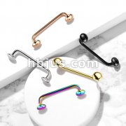 Flat Disc Ends 9 Degree Bent Staple Barbells for Surface and Snake Eye Tongue Piercings