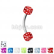 Acrylic Dices 316L Surgical Steel Eyebrow Curve