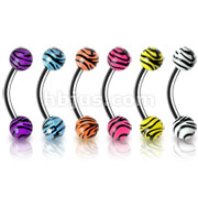316L Surgical Steel Eyebrow Curve with 4mm Tiger Print Acrylic Balls 120pc Pack (20pc x  6 colors)