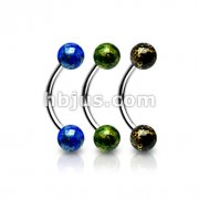 4mm Fossil Acrylic Balls 316L Surgical Steel Curve Eyebrow