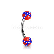 Acrylic Rebel Flag Balls 316L Surgical Steel Eyebrow Curve Ring