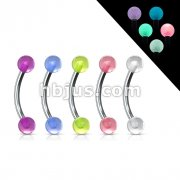 16 gauge 3/8 Eyebrow w/ Acrylic Glow in the Dark Balls 100pcs (20pcs x 5 colors)