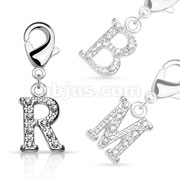CZ Paved Initial Charms with Lobster Claw for Belly rings, Bracelets and More