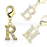 CZ Paved 14Kt. Gold Plated Initial Charms with Lobster Claw for Belly rings, Bracelets and More