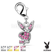 CZ Paved Playboy Bunny with Lobster Claw for Belly rings, Bracelets and More